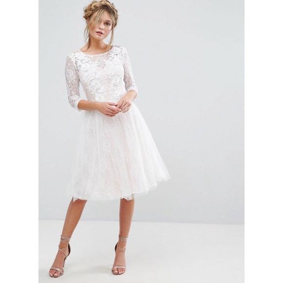 b94b1095c720c9 chi chi london Dresses   Bridal Lace Midi Dress With 3d   Poshmark